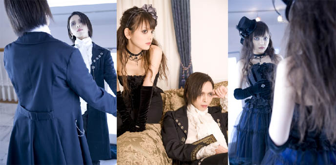 Pretty gothic lolita couple, dating, male and female, Rose Noire gothic lolita band, egl, elegant goth aristocrat fashion and music, japanese goth bands, darkwave, Electro Psychedelic / Goth Techno / Alternative, goth industrial nightlife in Tokyo Japan
