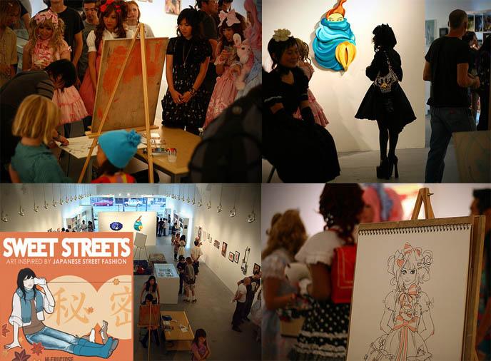 Harajuku Girls in LA, Sweet Streets art gallery Japanese pop artists, live painting, cute Sweet Lolitas drawings, Western Goth lolita, nucleus gallery los angeles CA.