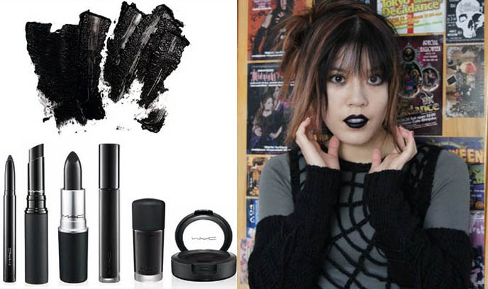 MAC black lipstick, black collection M.A.C. makeup, Gothic lip color, blackfire, Back to Black beehive and eyeliner to Steven Sprouse kohl and fringe to Gareth Pugh London New Goth