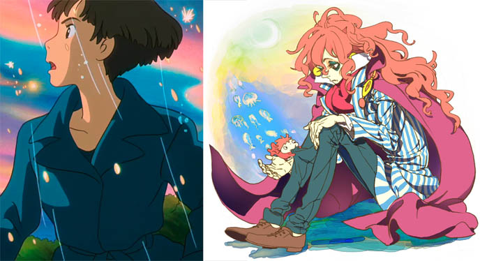 Ponyo anime movie by Hayao Miyazaki, Studio Ghibli, goldfish father Fujimoto, film stills from Ponyo, eating ham, mother of little boy, chick transformation weird