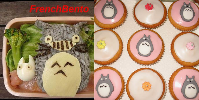 totoro cupcakes and bento box, studio ghibli miyazaki food and snacks, Cute Yummy Time by La Carmina, bento cookbook, japanese cupcake decoration, cute characters lunches, fun food recipes for kids and children, birthday party creative ideas,  charaben, Sanrio characters graphics and drawings, cute kawaii images.