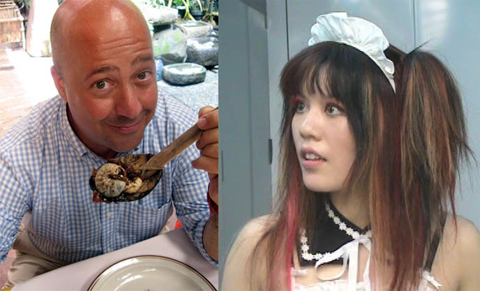 Andrew Zimmern Bizarre World show on Travel Channel, Bizarre Foods, Travel TV show Tokyo, subcultures, eating grossest weirdest food in the world, Anthony Bourdain, Japanese cute girl in maid outfit costume cosplay.
