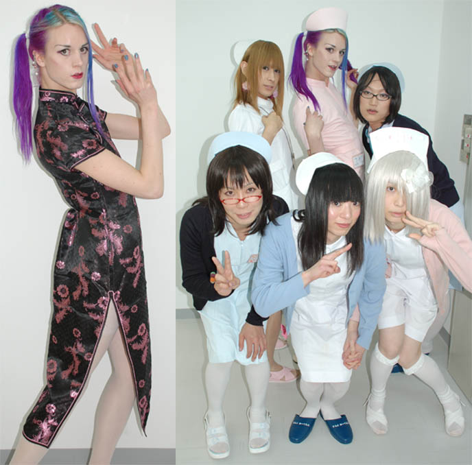 Japanese drag queens, transsexuals, lady boys, cross dressing, josou fantasy cosplay, Tokyo drag subcultures, hibari-tei, maid cafe men dressing like women, 女装 josoo.