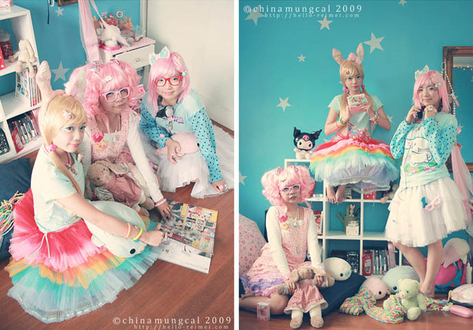 SWEET FAIRY KEI CANDYLAND GIRLS PHOTOSHOOT: PINK HAIRED MODELS, DECORA HAIR, RAINBOW SKIRT, ASIAN GIRLS. cute Japanese schoolgirls, teen lolitas, lolita models, pretty Asian girlfriends.