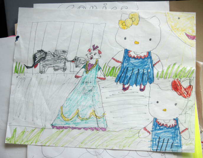 CHILDHOOD DRAWINGS OF HELLO KITTY & CUTE JAPANESE CAT CHARACTERS. KID'S SANRIO SKETCHES, COLORED PENCIL PICTURES, weird funny surreal child drawing of cats and elephants.
