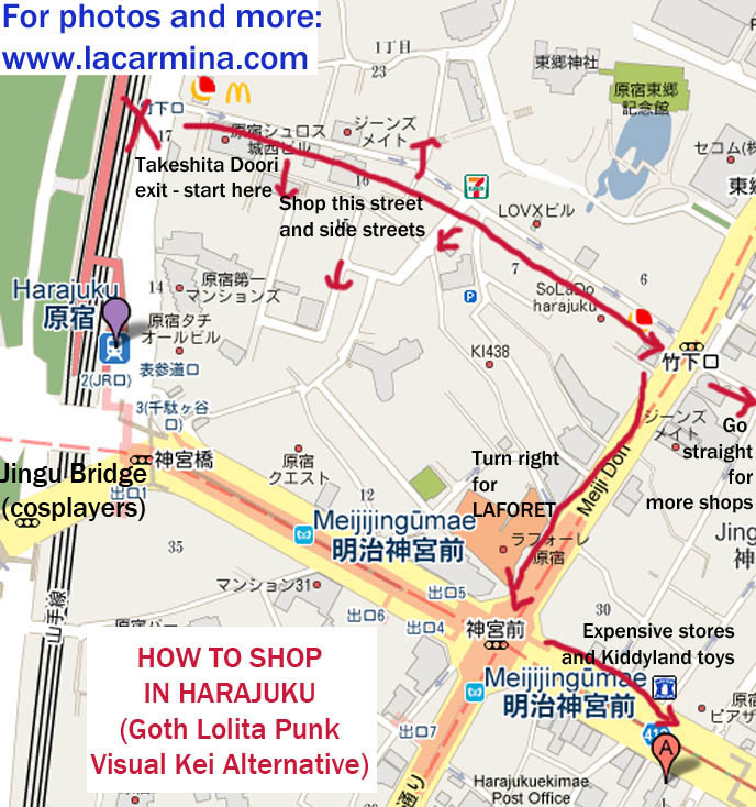 Gothic Lolita map, HARAJUKU LOLITA SHOPPING guide MAPS. WHERE TO BUY GOTHIC LOLITA HARAJUKU FRUITS CLOTHES IN TOKYO JAPAN, SHOP LIST & ADDRESSES FOR COOL JAPANESE CLOTHING STORES. shopping malls in japan, directions and map for best women's clothing stores, Harajuku shop guide