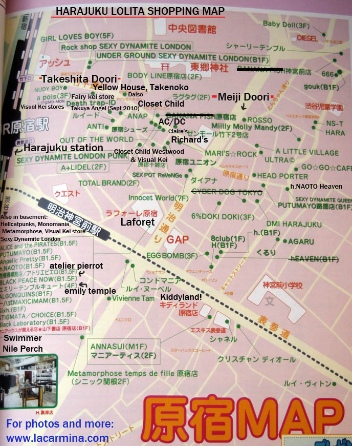 OSAKA & HARAJUKU LOLITA SHOPPING MAPS. WHERE TO BUY GOTHIC LOLITA HARAJUKU FRUITS CLOTHES IN TOKYO JAPAN, SHOP LIST & ADDRESSES FOR COOL JAPANESE CLOTHING STORES. shopping malls in japan, directions and map for best women's clothing stores, Harajuku shop guide