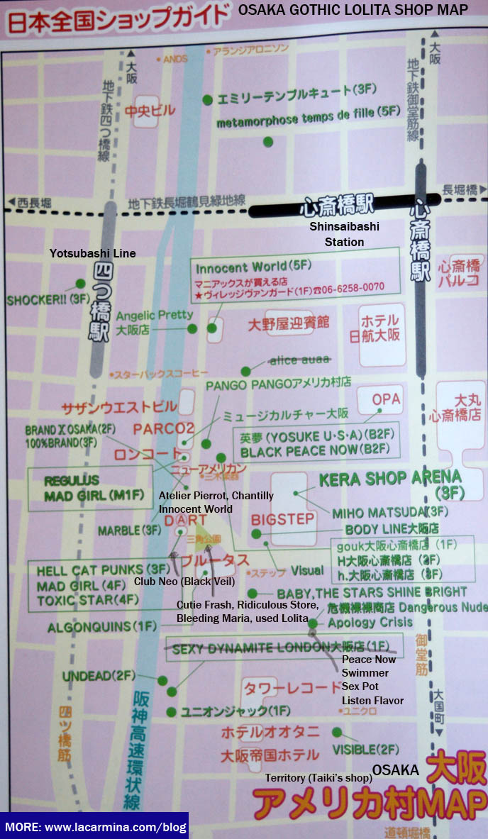 OSAKA GOTHIC LOLITA PUNK SHOPPING GUIDE. SHINSAIBASHI BEST GOTH LOLI ALTERNATIVE CLOTHING STORES, WOMEN'S FASHION BOUTIQUES, SHOP MAPS & ADDRESSES. OSAKA KANSAI LOLITA SHOPPING MAPS. WHERE TO BUY GOTHIC LOLITA HARAJUKU FRUITS CLOTHES IN TOKYO JAPAN, SHOP LIST & ADDRESSES FOR COOL JAPANESE CLOTHING STORES. shopping malls in japan, directions and map for best women's clothing stores, Harajuku shop guide, used gosurori clothing, where to buy lolita clothes in osaka,