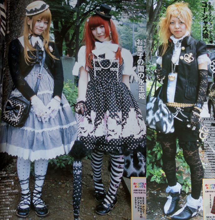 OSAKA gothic lolitas, goth japanese fashion, lolita parasol, vivienne westwood tokyo punk, kera magazine street snaps, striped socks, Lolita frill bows dresses, pretty cute teenage lolitas, models in fashion magazine Japan