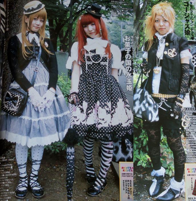 OSAKA gothic lolitas, goth japanese fashion, lolita parasol, vivienne westwood tokyo punk, kera magazine street snaps, striped socks, Lolita frill bows dresses, pretty cute teenage lolitas, models in fashion magazine Japan
