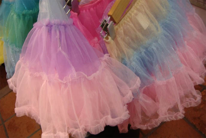 rainbow tutu skirts, ballerina skirt several colors, lace and tuile, pretty princess girls clothing costumes, Fairy kei shopping, stores in Harajuku Tokyo Japan, SBY Happy Room, cute 1980s pastel tutus, bunny rabbit plush toys, kawaii cute fairy fashion, 6% dokidoki, pink retro 80s Japanese fashion for girls, My Little Pony, Jem and Holograms fashion style