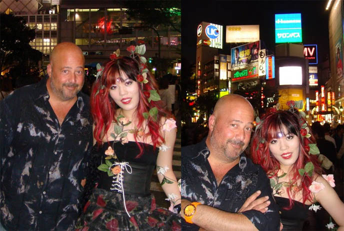Andrew Zimmern's Bizarre World TV show on Travel Channel, Discovery, popular weird foods program, Hachiko statue at Shibuya subway, filming lost in translation famous Center Gai street crossing, busy Tokyo Japan street crossing, bring neon lights of Tokyo Japanese signs