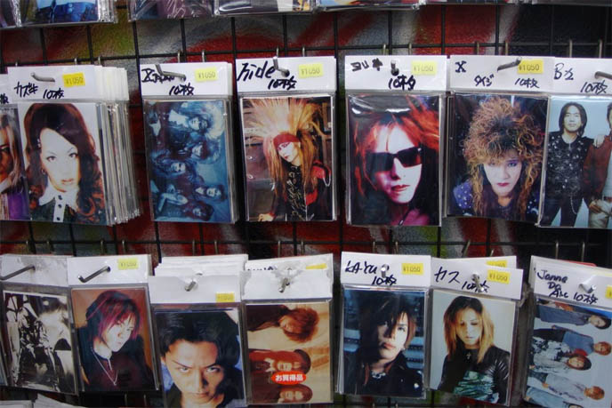 Visual Kei music stores in Harajuku, J-rock and J pop idol photos, memorabilia in Tokyo japan, Visual kei hide, X Japan, Gackt merchandise, cds and souvenirs, rare vinyl, Nightmare Japanese band