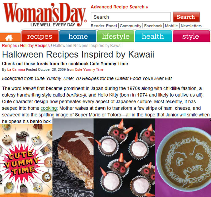 Cute Yummy Time kawaii recipes book, mook or Japanese magazine and books on bento decoration, buy charaben character bentos artist, cookbook for making Hello Kitty cute food, La Carmina interview and article in Woman's Day, panda soba tofu, Scottish Fold famous celebrity cat, fun food for kids, ideas for family food