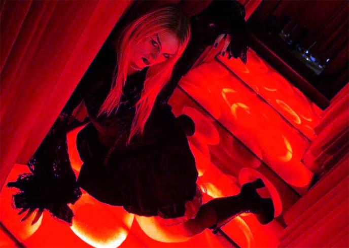 red blood cell floors, cool interiors restaurants in Japan, hemoglobin floor, Crazy Wacky Theme Restaurants Tokyo book by La Carmina, win free book, Japanese pop culture books contest, Vampire Café in Ginza Tokyo Japan, Mark Batty Publisher, Gothic Lolita author blogger La Carmina or Carmen Yuen.