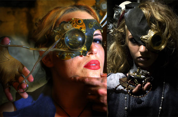 brass eyepiece, goggles glasses clockwork gears, handmade Steampunk Haunted House at Henry Street Settlement, victorian goth creative art performance, theater in new york city, Halloween events in NYC, steampunk costumes and outfits for rent, scary horror show installation