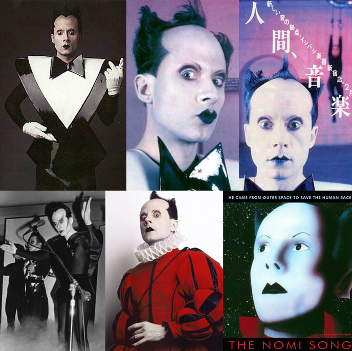 THE NOMI SONG, KLAUS NOMI DOCUMENTARY. LIGHTNING STRIKES, TOTAL ECLIPSE SINGER, palm pictures movie, David Bowie man who sold the world backup singer, videos and live performances of Klaus Nomi east village NYC singe who died of AIDS
