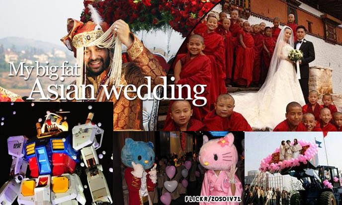 Lavish Asian weddings, Shilpa Shetty big fat Indian Bollywood wedding, marriage ceremonies with gundam robot in Tokyo, Hello Kitty weddings at Sanrio theme park, strange creative weird weddings in Asia, China tractor wedding