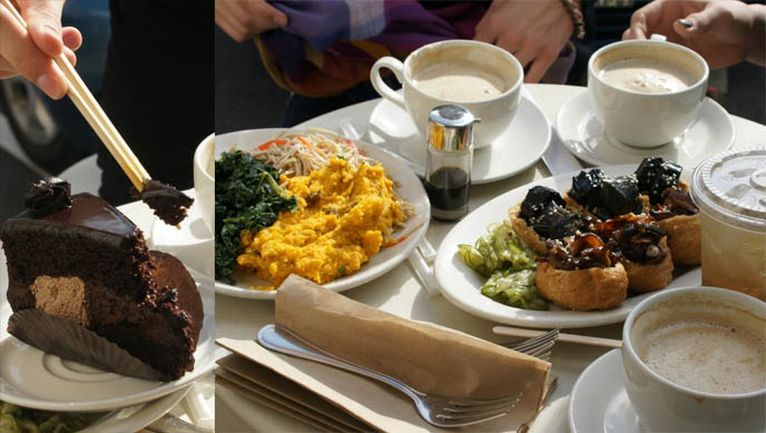 healthy food on table, eggplant and shiitake inari, soy lattes, butternut squash, kale salad, BEST CAFE IN LOS ANGELES: M CAFE DE CHAYA, MELROSE & LA BREA. VEGETARIAN, MACROBIOTIC HEALTHY RESTAURANTS IN LA, JAPANESE FOOD.