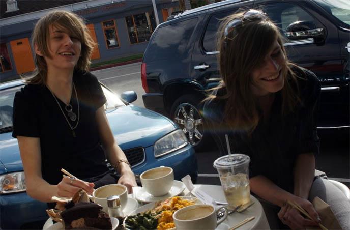 cute teenage boys laughing, teens hanging out, eating food at restaurant, long hair on men, emo scene hair, visual kei boys, BEST CAFE IN LOS ANGELES: M CAFE DE CHAYA, MELROSE & LA BREA. VEGETARIAN, MACROBIOTIC HEALTHY RESTAURANTS IN LA, JAPANESE FOOD.