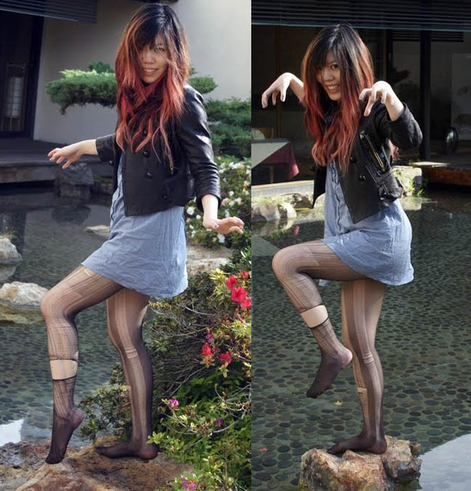 Karate kid fighting pose, standing on one leg balancing, Japan Buddhist temple stone garden pond, girl with ripped tights, women's leather jacket, Kyoto Grand hotel in Los Angeles, Zen garden, meditation pond, Japanese park and gardens in LA, fun poses model