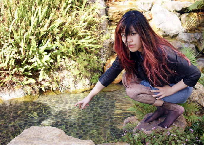 Zen girl, ripped stockings woman, pretty Japanese gardens, Japan Buddhist temple stone garden pond, Buddhism meditation photos, Kyoto Grand hotel in Los Angeles, Zen water garden, meditation pond, Japanese park and gardens in LA