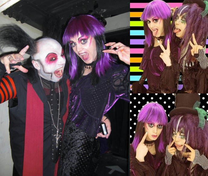 DJ Sisen, flamboyant awesome Japanese cyber dj at Tokyo Decadance, Sisen with purple haired Japan club kid, spooky Japan goth makeup, nightlife gothic industrial, visual kei outfits, cyber fashion