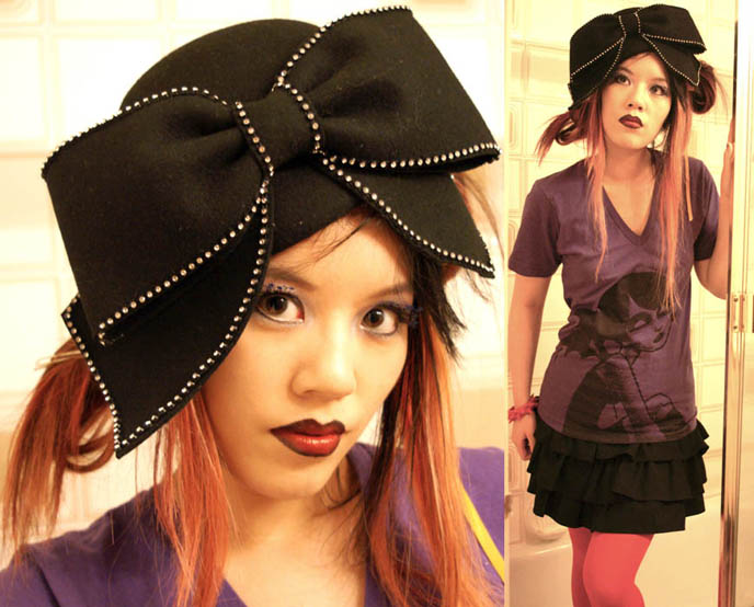 Aretha Franklin crazy hat, where to buy hat Aretha Franklin wore to Obama inaugural ceremonies, big silly giant hat with bow on it, cosplay anime hairstyles, Goth fetish makeup, SuicideGirls model, Akumu Ink gothic steampunk t-shirts, nightmare before christmas character and skull graphic design, light pink dyed hair, emo girl, dark red lipstick gothic, high exposure fashion modelling photos, La Carmina makeup and clothing line, two tone black lipstick, Aromaleigh mineral eyeshadows