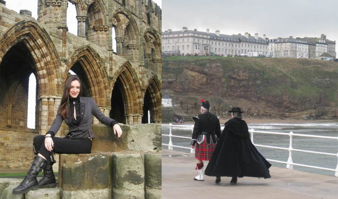 ocean and gothic ruins at Whitby, landscape and scenery UK, goth castle for photoshoots, WHITBY GOTHIC WEEKEND 2009: PRETTY GOTH GIRL PHOTOS, VICTORIAN MOURNING CLOTHING, STEAMPUNK & FETISH FASHION AT UK FESTIVAL, long vampire cape.