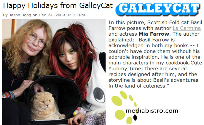 Basil Farrow, Mia Farrow, celebrity cats, famous actress pets, Scottish Fold kitty teddy bear, La Carmina, fat Garfield yellow cat inside carrying case, earless flop-eared rare breed of cat, where to buy scottish folds, breeders, funny cute LOLCAT pet photos, silly pet pictures, earless cat, floppy eared scottish folds, raising pet scottish fold cats, pet cat medical care スコティッシュフォールド, 猫