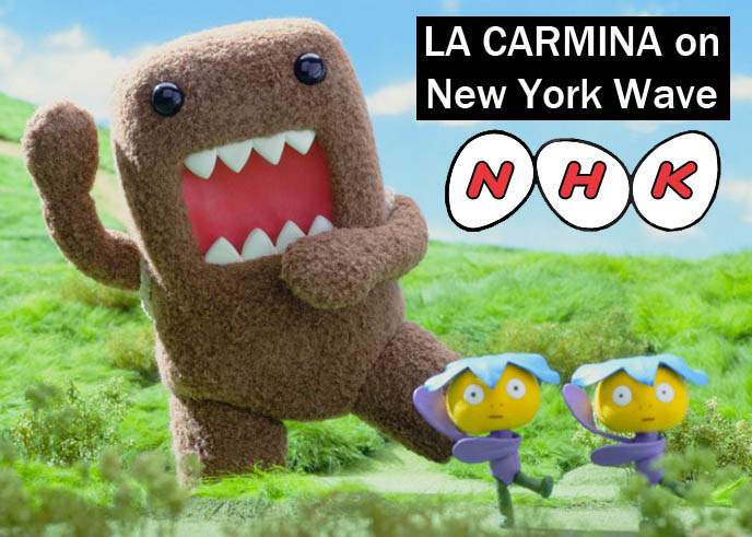 NHK mascot Domo, どーもくん, Dōmo-kun, big mouth brown cute kawaii Japanese character, New York Wave Japanese national broadcaster TV, NHK television station logo, Tokyo documentary on theme restaurants, weird food, cute bento boxes, La Carmina subcultures TV host and travel guide.