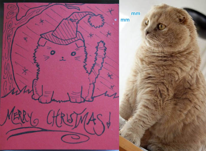 cute kawaii Christmas card, Japanese holiday greeting cards, weird funny hand drawn handmade cards for gifts, scottish fold cat picture drawing, merry christmas red greeting card, cute kitten Japan style graphic art