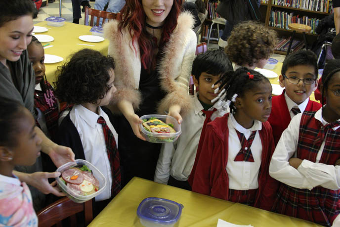 TEACHING ELEMENTARY SCHOOL CHILDREN IN HARLEM HEALTHY EATING. JAPANESE CHARACTER BENTO LESSONS IN UNDERPRIVILEGED NEW YORK CLASSROOM. onigiri hat, phoenix wright cosplay, best cosplay outfits, harlem schoolchildren, kids in underprivileged school, cooking lessons, black skull scarf, silk black goth prom dress, TEACHING CHILDREN HEALTHY EATING HABITS, CUTE CHARACTER BENTO-MAKING AT HARLEM ELEMENTARY SCHOOL. pretty Asian model, Chinese idol girl, NHK TV, KAWAII BENTOS TV SHOW: LA CARMINA, BLOGGER & CUTE YUMMY TIME AUTHOR. filming japanese game show, charaben, CUTE CHARACTER BENTO, crazy FOOD COOKING SHOW, NHK JAPAN TV DOCUMENTARY SHOOT, NEW YORK WAVE