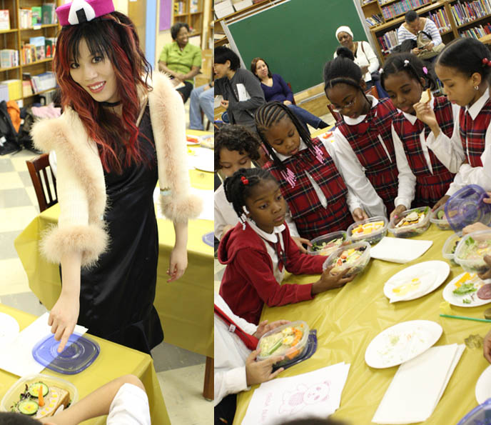 TEACHER with children at poor ELEMENTARY SCHOOL, CHILDREN IN HARLEM HEALTHY EATING. JAPANESE CHARACTER BENTO LESSONS IN UNDERPRIVILEGED NEW YORK CLASSROOM. onigiri hat, phoenix wright cosplay, best cosplay outfits, harlem schoolchildren, kids in underprivileged school, cooking lessons, black skull scarf, silk black goth prom dress, TEACHING CHILDREN HEALTHY EATING HABITS, CUTE CHARACTER BENTO-MAKING AT HARLEM ELEMENTARY SCHOOL. pretty Asian model, Chinese idol girl, NHK TV, KAWAII BENTOS TV SHOW: LA CARMINA, BLOGGER & CUTE YUMMY TIME AUTHOR. filming japanese game show, charaben, CUTE CHARACTER BENTO, crazy FOOD COOKING SHOW, NHK JAPAN TV DOCUMENTARY SHOOT, NEW YORK WAVE