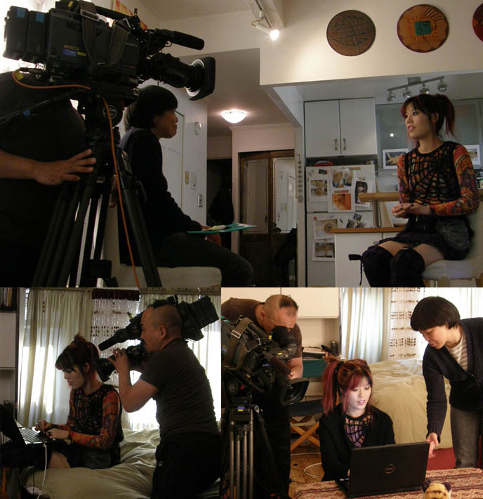 tv cameras filming in japan, japanese tv show shoot, spider cobweb top, cool original japanese womens clothing. NHK KAWAII BENTOS TV SHOW: INTERVIEW WITH LA CARMINA, BLOGGER & CUTE YUMMY TIME AUTHOR. PEACE NOW JAPAN, VIVIENNE TAM. CUTE CHARACTER BENTO, JAPANESE FOOD COOKING SHOW, NHK JAPAN TV DOCUMENTARY SHOOT, NEW YORK WAVE BENTO SHOW, charaben, la carmina, red pink scene hair girl, vivienne tam ganesha sheer rainbow shirt, vintage vivienne tam, peace now gothic lolita marui one