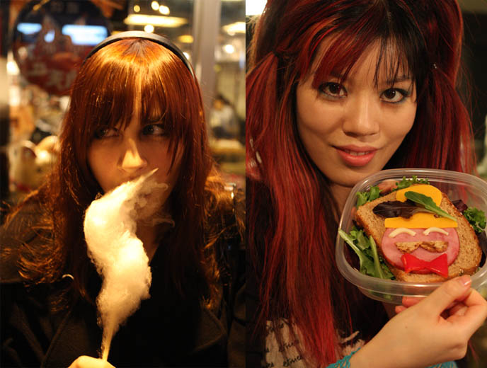 pretty goth girls, Kenka japan restaurant, izakayas, best japanese food east village new york, nyc st marks place, COOKING CUTE FOOD FOR CRAZY JAPANESE TV SHOW. SKULL SCARF, TOP HATS, COTTON CANDY FROM KENKA RESTAURANT ON ST MARKS PLACE. NHK KAWAII BENTOS TV SHOW: INTERVIEW WITH LA CARMINA, BLOGGER & CUTE YUMMY TIME AUTHOR. filming japanese game show, charaben, CUTE CHARACTER BENTO, crazy FOOD COOKING SHOW, NHK JAPAN TV DOCUMENTARY SHOOT, NEW YORK WAVE, turquoise and black goth clothes
