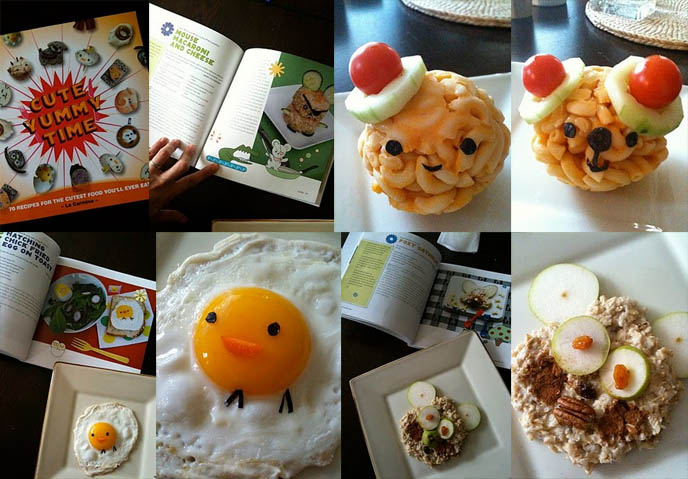 Cute Yummy Time book, bento blog, recipes from La Carmina cute bento decoration cookbook, fried egg baby chick, carrot beak, fox oatmeal, book cover of kawaii recipes food book, bento box lunches, macaroni cheese shaped animals