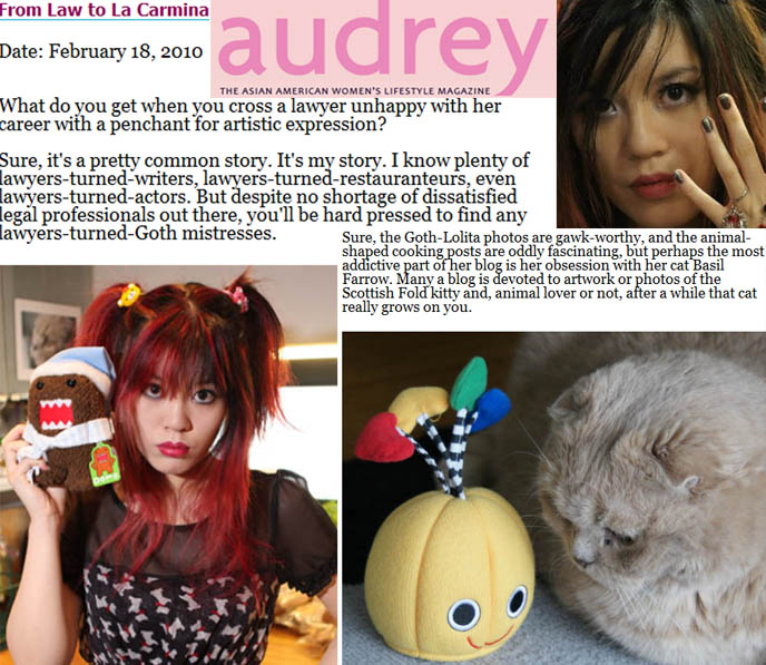 Audrey magazine, asian american magazines, websites and blogs asian women, cute japanese girl, la carmina, harajuku mistress, goth mistresses
