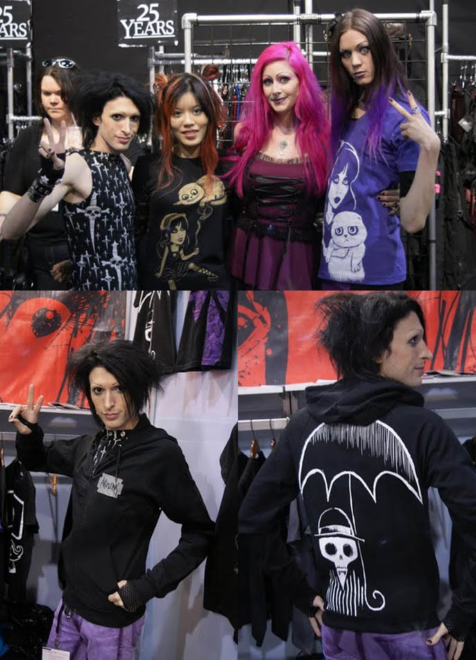 KYNT & VYXSIN of the amazing race, goth duo contestants on reality tv, signing and appearance AT LIP SERVICE, MAGIC CLOTHING TRADESHOW IN LAS VEGAS. WHOLESALE GOTH PUNK ALT FASHION. goth fashion models, famous goths, gothic celebrities