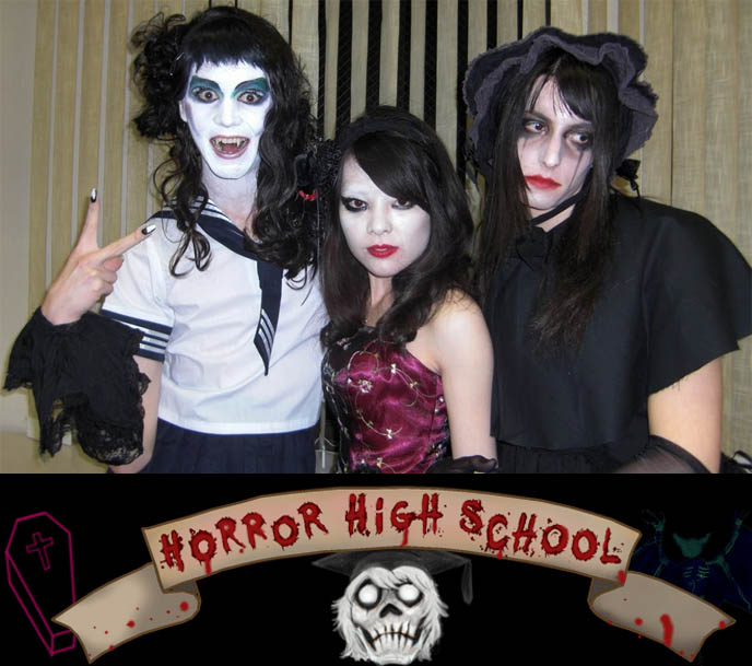 HORROR HIGH SCHOOL: JAPANESE INDEPENDENT COMEDY-HORROR TEEN MOVIE. VISUAL KEI, GOTHIC LOLITA FILM. PLASTICGOD JROCK ART. goth movie, asia extreme horror films, behind scenes filming movies, halloween scary makeup, japanese undead schoolgirl, ghosts goblins costume