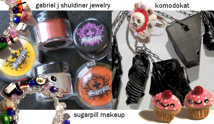 SUGARPILL MAKEUP BY SHRINKLE, mineral makeup containers, amy doan, cute cupcake pins, KAWAII RINGS, JEWELRY & HAIR ACCESSORIES. HARAJUKU DIY NAIL ART, PEOPLE'S MARKET DRESS, JAPANESE CUTE DYED HAIRSTYLES. TOKYO japan street fashion, fruits style japan, decora clothing, where to buy gothic lolita clothes, shopping guide map Tokyo, red pink scene queen hair, dyed hairstyles emo hipster goth, wacky colored hairstyles, crazy hair style color, mori girls, gabriel shuldiner jewelry