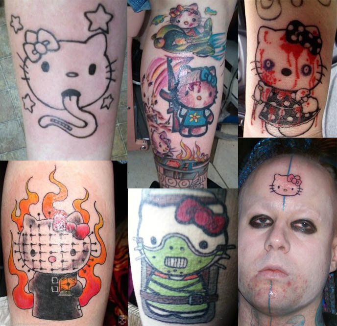 Pictures Of Hello Kitty Tattoos. hello kitty tattoos, worst