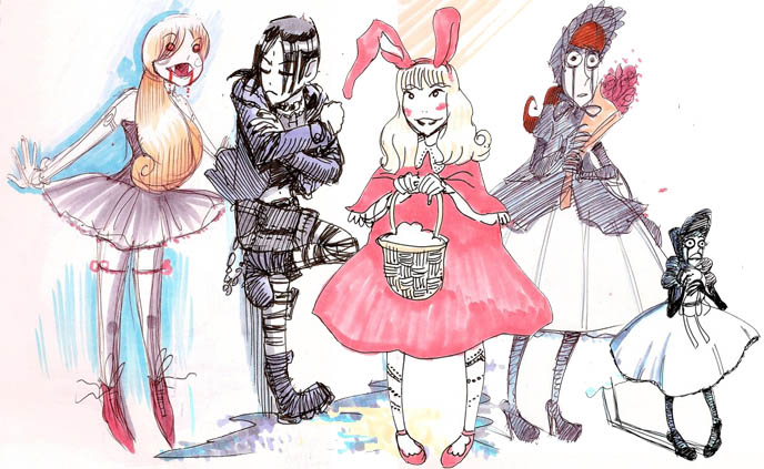 halloween costume sketches, tim burton costume design concept sketches drawings, GOTHIC LOLITA MANGA DRAWINGS, CUTE GOTH GIRL SKETCHES FROM HORROR HIGH SCHOOL MOVIE. drag queen tranny transsexual cross-dressing cosplay japanese harajuku jpop la carmina goth gothic lolita funny humor silly beauty fashion style blogger, japanese b-movie, horror movie Tokyo, gothloli girls, scary goths