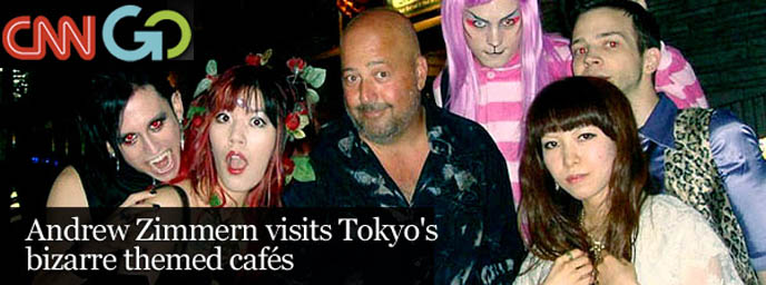 andrew zimmern, travel channel, bizarre foods, bizarre world, tv show, tokyo episode, theme restaurants, la carmina, tv host, travel tv show, asia weird maid cafes, extreme eating, discovery channel hosting, alcatraz ER, crazy wacky theme restaurants japan