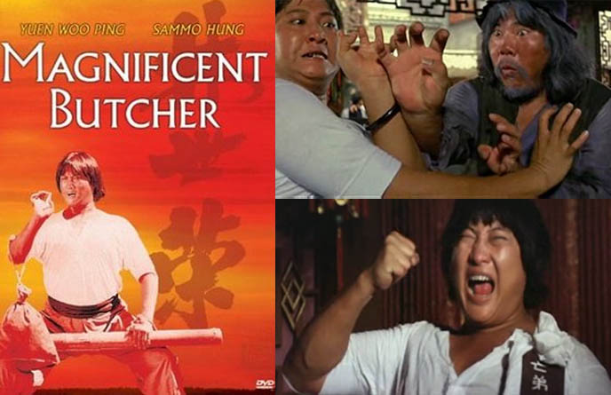 the magnificent butcher, dvd cover, poster, YUEN WOO-PING & SAMMO HUNG, 1970S KUNG FU COMEDY, funny martial arts movies, retro fighting films from hong kong, golden harvest productions, jackie chan, bruce lee