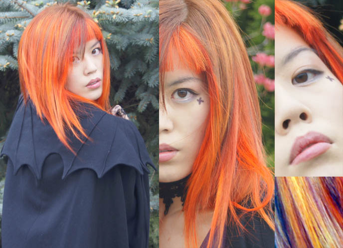 girl with orange hair, orange hair color, bright dye special effects, neon dyed hair, scene emo girl hairstyles, la carmina, NEW ORANGE HAIR, SPECIAL EFFECTS BRIGHT ORANGE COLORFUL DYE, JAPANESE MODERN HAIRCUTS, pumpkin head hair, extreme hairstyles, avantgarde Tokyo, LACE GLOVES, black peace now VAMPIRE CAPE, gloomth dress