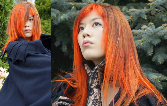cool vampire cape, costume vampires, bright neon orange hair, emo girl hairstyle, la carmina, NEW ORANGE HAIR, SPECIAL EFFECTS BRIGHT ORANGE COLORFUL DYE, JAPANESE MODERN HAIRCUTS, pumpkin head hair, extreme hairstyles, avantgarde Tokyo, LACE GLOVES, black peace now VAMPIRE CAPE, gloomth dress