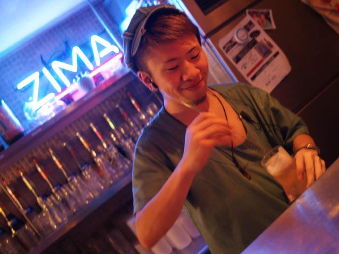 zima sign, alcatraz er restaurant, japanese bartender, bLUE TOKYO: COOL NIGHTLIFE PHOTOGRAPHY. JAPAN AFTER DARK, GLOWING NEON LIGHTS, WALRUS & HIS BUCKET. jpop cosplay Japan, world's weirdest strangest restaurants
