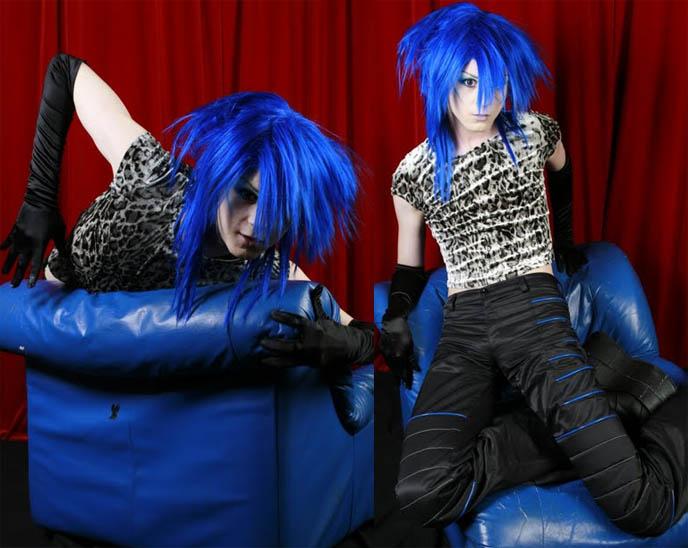 CYBER BOY MODEL YUKIRO. BRIGHT BLUE ANIME WIG, NEON CYBER