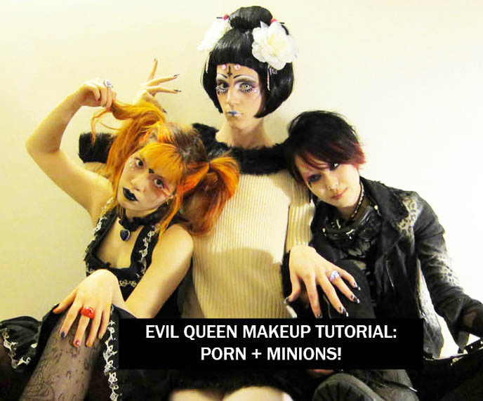 TOKYO EVIL QUEEN VIDEO! SUGARPILL MAKEUP TUTORIAL, FEATHERED EYELASHES, GOTH BLACK LIPSTICK & MINIONS. JAPANESE tv, BLACK GOTH LIPSTICK, EXTREME FAKE EYELASHES, FEATHERED EYELASHES, glittery mineral eye makeup, heart of the ocean Titanic necklace, funny comedy beauty demo, innocent world gothic lolita dress
